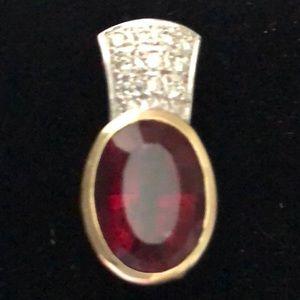 Jewelry - Pink Tourmaline, Diamond Pave, 14K YG/WG, Pendant